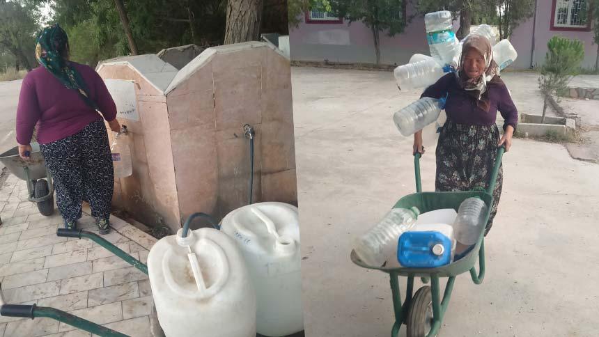 Bekilli'de köylüler bidonlarla su taşıdı